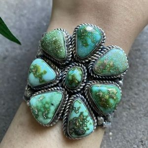 S.S.Sonoran Gold Turquoise Cluster CuffBracelet.TJ